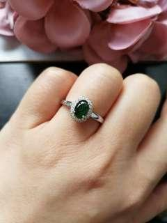 $68 Sales Type A Grade A Natural Jadeite Jade Fei Cui 925 Silver White Gold Plated Ring