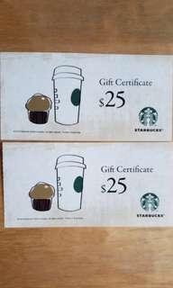 Starbucks coupon $50