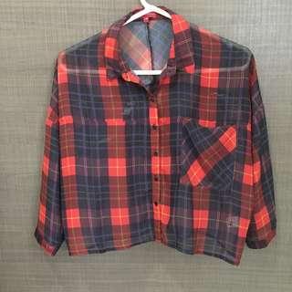 [Padini] Checked crop shirt #APR10