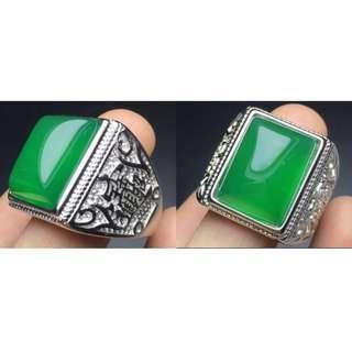 綠玉髓霸氣925銀招財進寶大戒指
