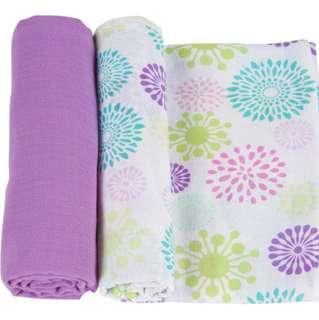 🚚 Muslin Swaddle Blankets (2 pieces) - Colourful Bursts