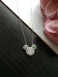 $58 Sales Type A Grade A Natural Jadeite Jade Fei Cui 925 Silver White Gold Plated Mickey Pendant