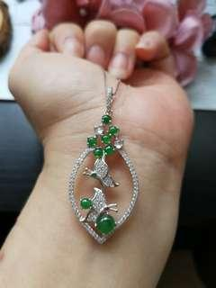 $88 Sales Type A Grade A Natural Jadeite Jade Fei Cui 925 Silver White Gold Plated Pendant