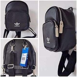 Adidas Small Mini Two Ways Backpack Instock in Black & Pink!!