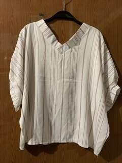 🚚 很涼很舒服的藕粉條紋上衣