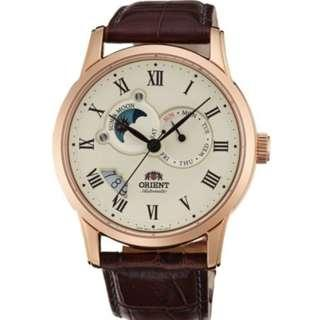 ORIENT Men Automatic Sun Moon Leather Watch SET0T001W