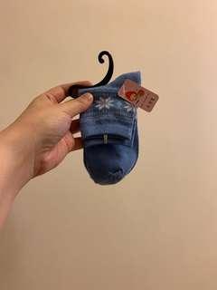 淺藍色 女裝花紋短襪