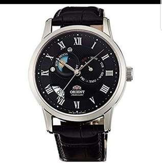 Orient Sun & Moon Sapphire Japan Automatic Gent's Leather Watch SET0T002B0