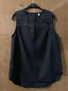 網紗拼接無袖上衣