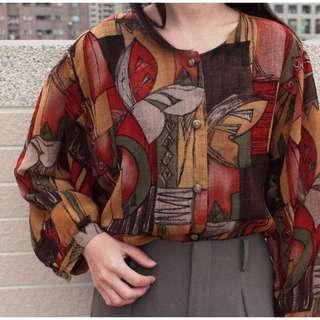 日本畫家風古著襯衫