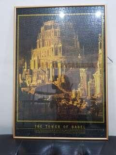 🚚 Tower of babel jig saw puzzle with frame for sale