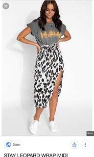 Dissh leopard wrap skirt