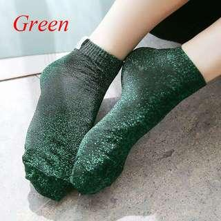 Kaos kaki korea gliter dark green