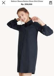 Balloon Sleeve Button Down Shirt Dress size M in Navy