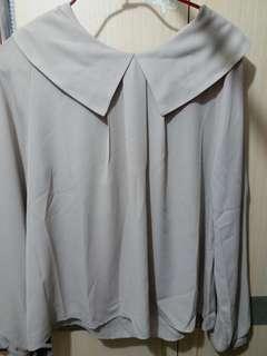 淺灰色水手領長袖雪紡上衣 (另有同款保藍色/紅酒色)