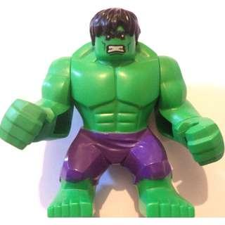Lego Super Heroes Marvel Hulk with Black Hair and Dark Purple Pants - Authentic Free Shipping
