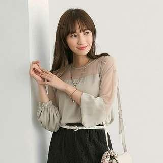 free mail* gray cutout long-sleeved blouse