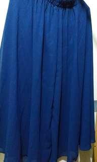 海軍藍半截橡根頭長身裙
