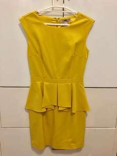 Forever21 Peplum dress Yellow Medium