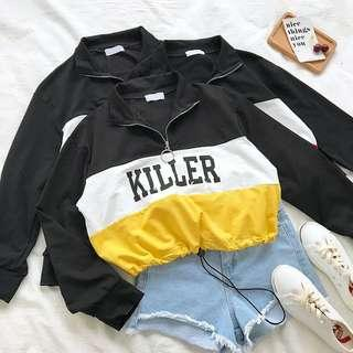 [PO] zip up bomber crop pullover