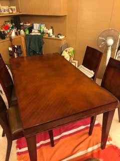 Hardwood Table with 4 chairs (Length: 160cm Width: 89cm)