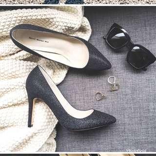 🚚 亮片光澤黑色高跟鞋40號