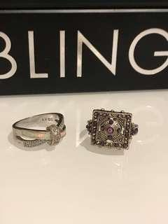 ♦️2 USED SILVER PLATED RINGS♦️
