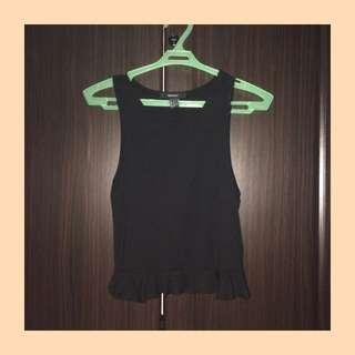 f21 ribbed ruffles cropped top