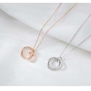 🚚 Interlocking links Necklace - High quality Sterling Silver - Available in silver and rose gold