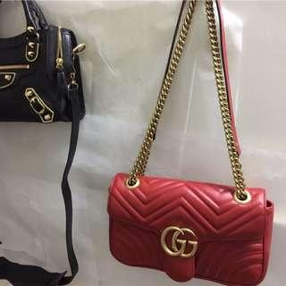 🚚 Gucci marmont 26 red 肩背包 側背包