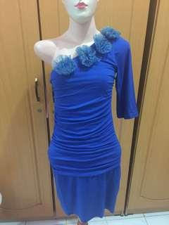 #dibuangsayang dress asimetris biru