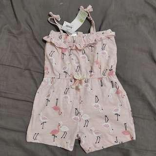 Summer Pink Flamingo Romper Playsuit Onesie