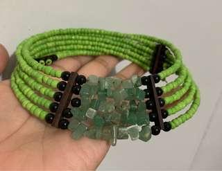 Choker Necklace (Green stones and Green Beads)