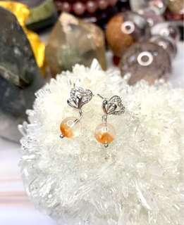 天然水晶幽靈耳環