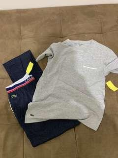 B new auth two pc lacoste set shirt pajama jogger
