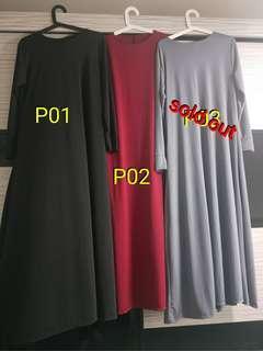 Muslimah Long Plain Dress