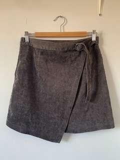 corduroy grey wrap skirt