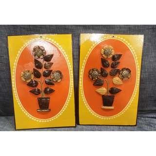 Nice Coconut made flowers frame