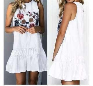 White Dress flower embroidery