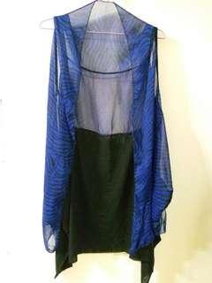 Cardigan 藍色絲質外套可當頸巾