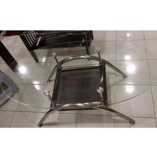 Oval pattern glass coffee table