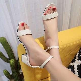 NEW Cream Colored Strap Block Heels