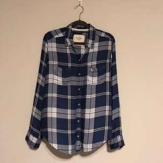 🚚 Abercrombie & Fitch Blue Plaid Shirt (Women's)