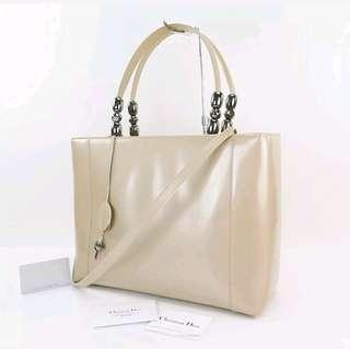 Authentic CHRISTIAN DIOR Maris Pearl Beige 2 Way Hand Bag