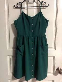 Kyra A-Line Buttoned Slip Dress in Forest