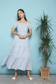 Brand New Hollyhoque Mandy Off Shoulder Maxi Dress in Sky Blue S Size