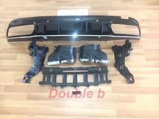 Double b Benz W205 C63 AMG 最新款 後下巴 + 尾管 百分百密合度 銀飾條版 夜色版 2款