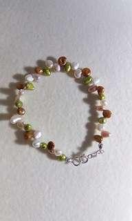 925 sterling silver biwa freshwater pearl bracelet