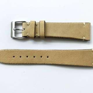 🚚 18mm Vintage Style Double Stitched Beige Natural Leather Watch Strap