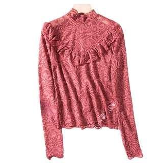 2折❤全新西班牙Stradivarius紫紅色喱士長袖衫❤Women Lace Top 打底 蕾絲
